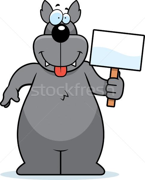 Wilk podpisania szczęśliwy cartoon Zdjęcia stock © cthoman
