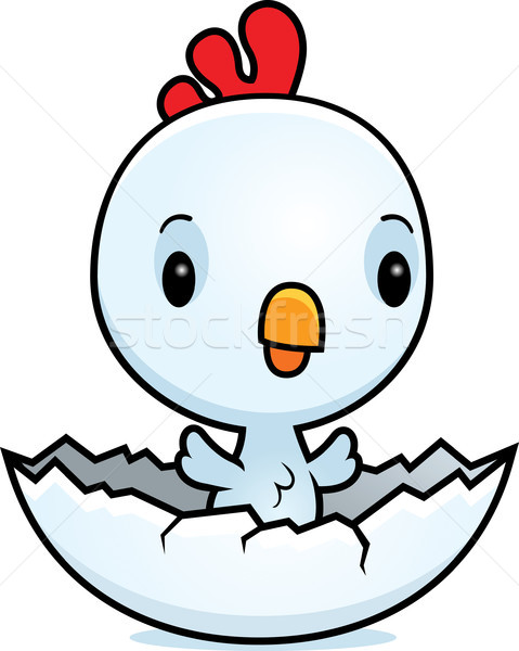 Cartoon Baby Rooster Hatching Stock photo © cthoman