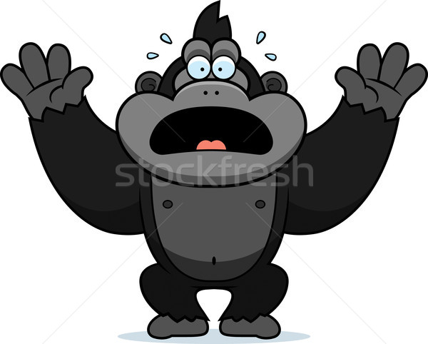 Cartoon Gorilla Panicking Stock photo © cthoman