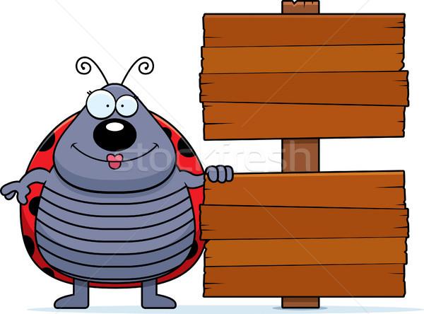 Cartoon lieveheersbeestje teken illustratie hout glimlachend Stockfoto © cthoman
