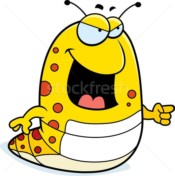 Caterpillar указывая Cartoon желтый улыбаясь сердиться Сток-фото © cthoman