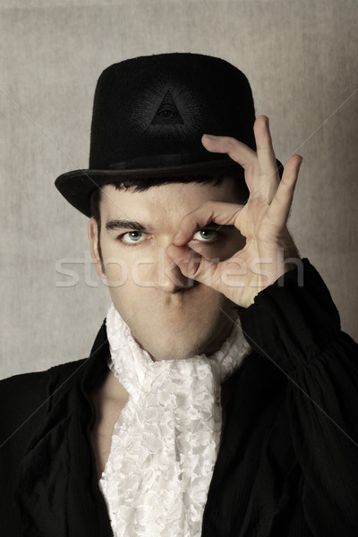 безмолвный сюрреалистичный портрет человека Top Hat Сток-фото © curaphotography