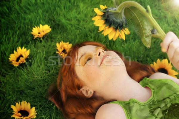 девочку цветок горизонтальный портрет мало Сток-фото © curaphotography