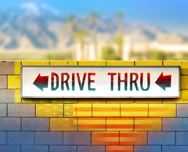 Old drive-thru sign Stock photo © curaphotography