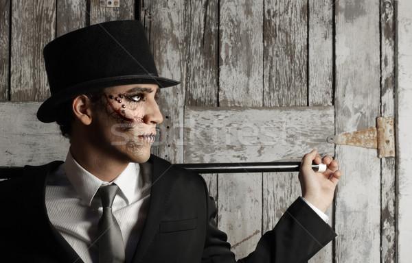 Stock fotó: Szürreális · férfi · felső · kalap · stilizált · portré