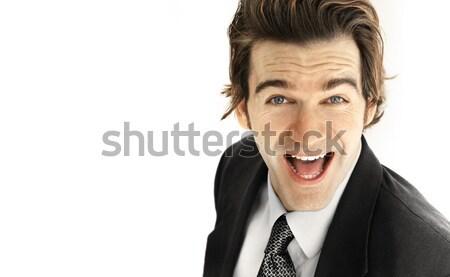 Nagy mosoly üzlet portré izgatott fiatal üzletember Stock fotó © curaphotography