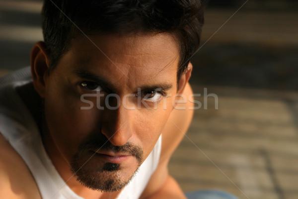 Ameaçador homem dramático retrato branco Foto stock © curaphotography
