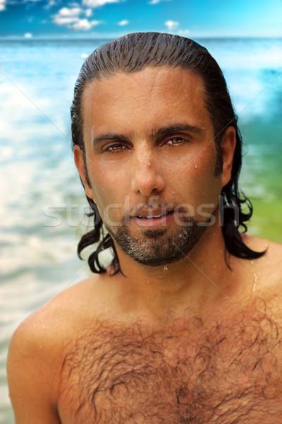 Foto d'archivio: Uomo · spiaggia · ritratto · umido · capelli