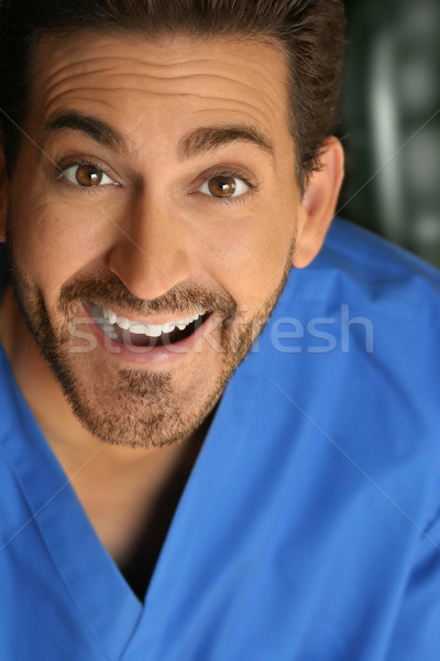 Sorridere uomo felice blu shirt business Foto d'archivio © curaphotography