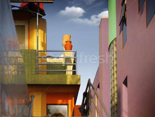 красочный зданий подробность группа Blue Sky облака Сток-фото © curaphotography