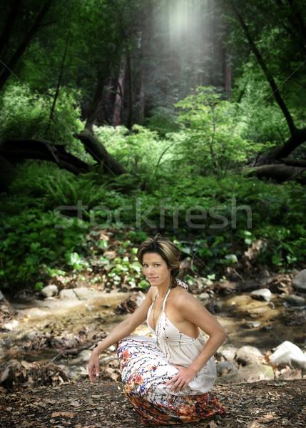 Vrouw buitenshuis portret mooie natuurlijke bos Stockfoto © curaphotography