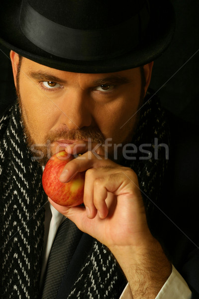 Sinistre homme pomme barbu bouche Photo stock © curaphotography