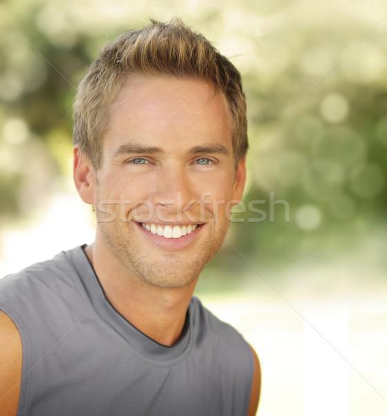 Sorridere maschio soddisfatto giovani esterna copia spazio Foto d'archivio © curaphotography