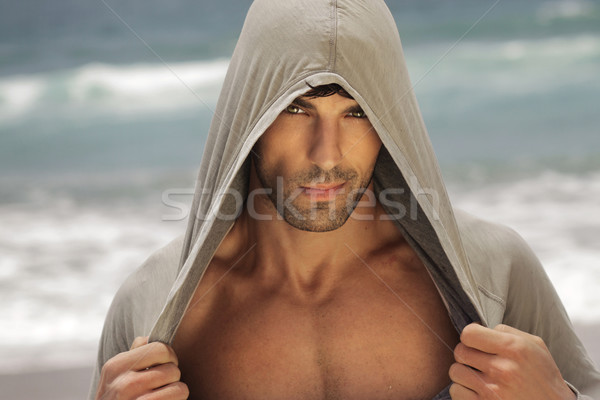 Sexy man in hood outdoors Stock photo © curaphotography