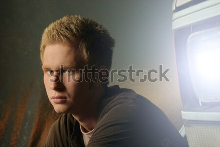 young man in front of truck Stock photo © curaphotography