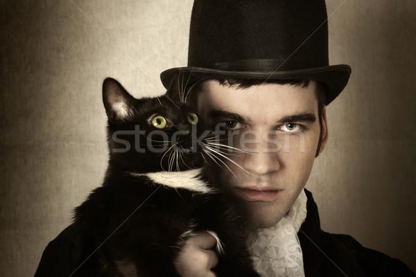 человека кошки стилизованный ретро портрет Top Сток-фото © curaphotography
