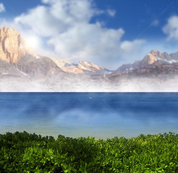 Hemels landschap foto tropische paradijs blauwe hemel Stockfoto © curaphotography