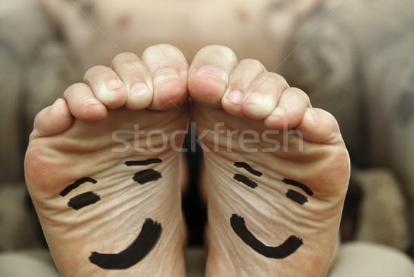 Gelukkig voeten grappig afbeelding paar Stockfoto © curaphotography