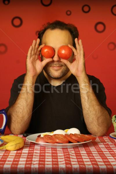 человека помидоров бородатый сидят таблице Сток-фото © curaphotography