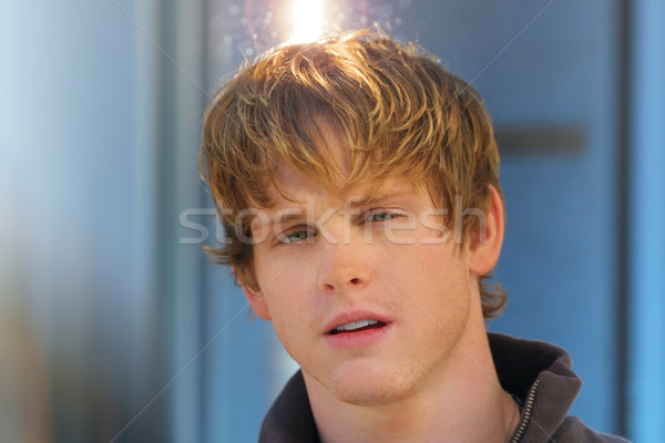 Jonge halo mannelijk model gloed licht boven Stockfoto © curaphotography