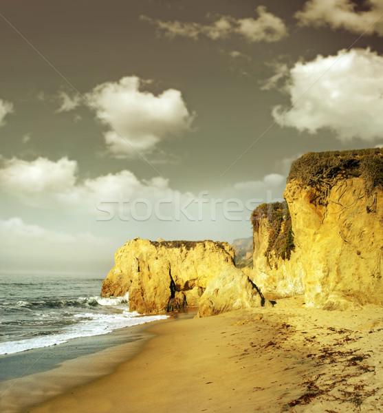Shoreline cliffs in golden light Stock photo © curaphotography