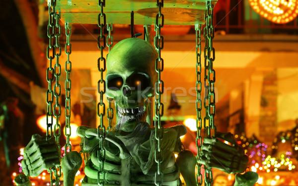 Halloween szkielet klatki człowiek noc czaszki Zdjęcia stock © curaphotography