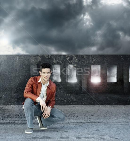 Man and grunge bridge Stock photo © curaphotography