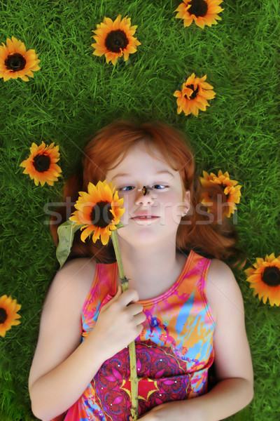 little girl with bee on nose Stock photo © curaphotography