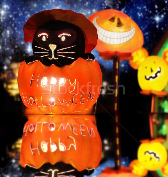 Szczęśliwy halloween w górę stylizowany ciepły Zdjęcia stock © curaphotography