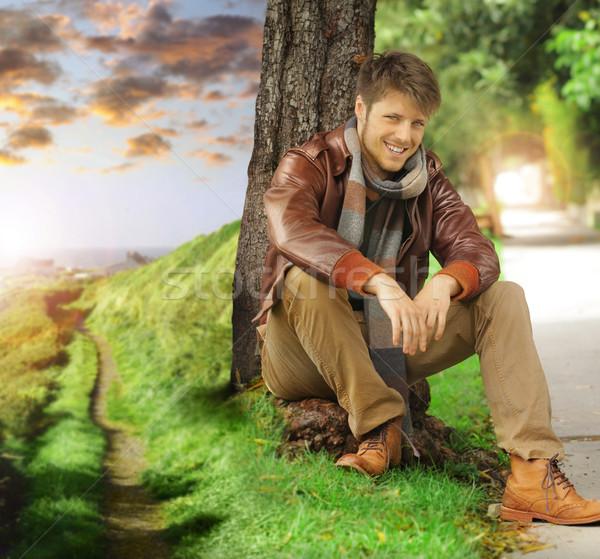 Foto stock: Moço · outono · jovem · elegante · feliz · homem