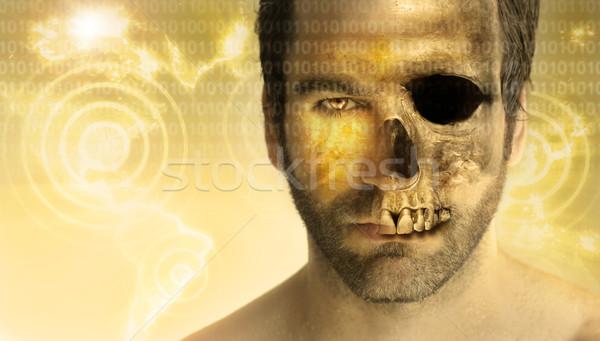 человека череп стилизованный портрет лице Сток-фото © curaphotography