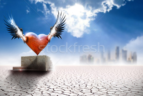 Winged heart in modern world Stock photo © curaphotography