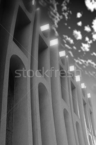Bianco nero costruzione dettaglio architettonico unico art deco stile Foto d'archivio © curaphotography