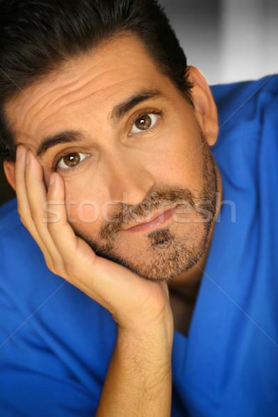 Uomo primo piano ritratto barbuto mano faccia Foto d'archivio © curaphotography