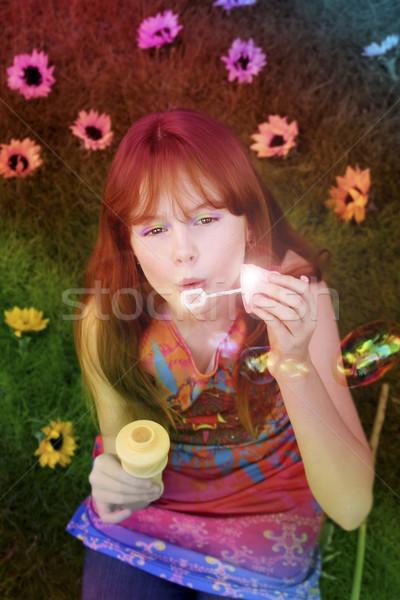 Kislány buborékfújás kicsi piros lány szivárvány Stock fotó © curaphotography