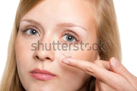 Azul mulher contato com os olhos lente Foto stock © Cursedsenses