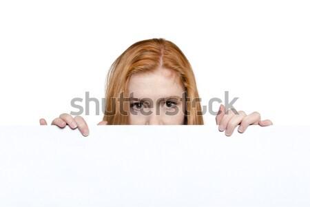 подростка девушка знак копия пространства Cute белый Сток-фото © Cursedsenses