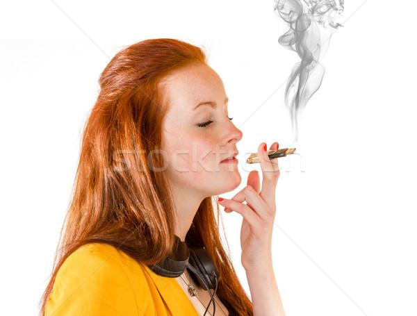 Giovani imprenditrice depresso dipendenza 100 cento Foto d'archivio © Cursedsenses