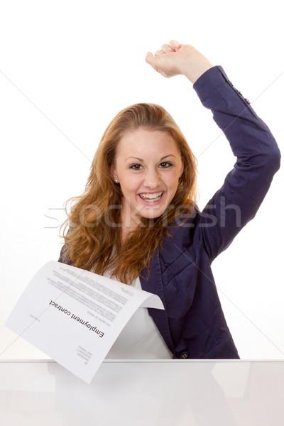 счастливым занятость договор 100 процент Сток-фото © Cursedsenses