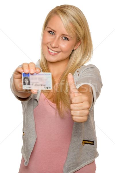 Fiatal nő mutat jogosítvány 16 18 éves lány Stock fotó © Cursedsenses