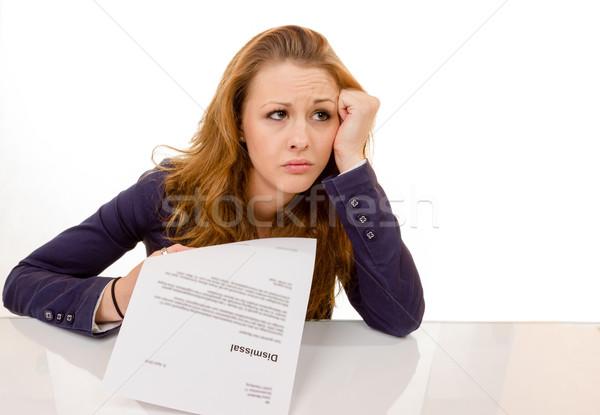 Genç kadın bakıyor üzücü iş 100 yüzde Stok fotoğraf © Cursedsenses