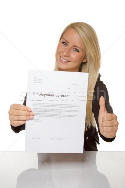 Mutlu genç kadın iş sözleşme 100 yüzde Stok fotoğraf © Cursedsenses