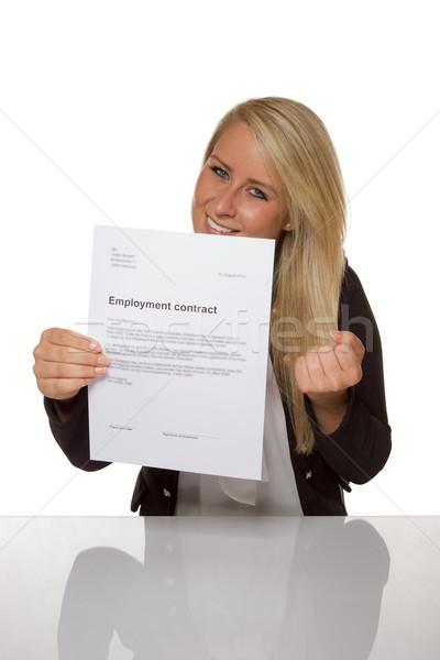 幸せ 若い女性 雇用 契約 100 パーセント ストックフォト © Cursedsenses