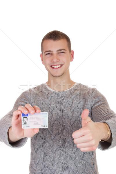 Fiatalember mutat sofőr licenc 16 18 éves Stock fotó © Cursedsenses