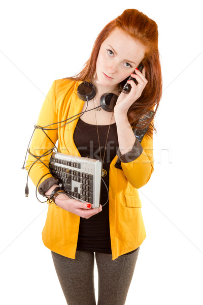 Young businesswoman depressed by cyber addiction Stock photo © Cursedsenses