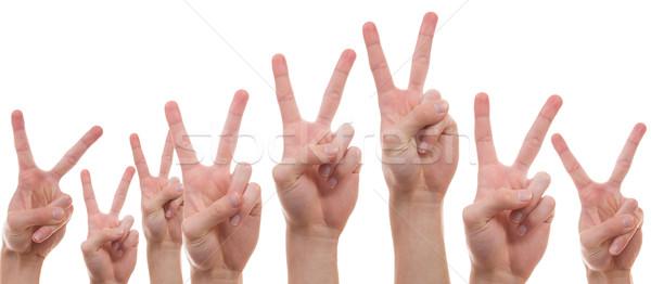 Gençler barış imzalamak gençler eller Stok fotoğraf © Cursedsenses