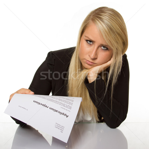 Young woman got a job application rejection a looks astonished Stock photo © Cursedsenses
