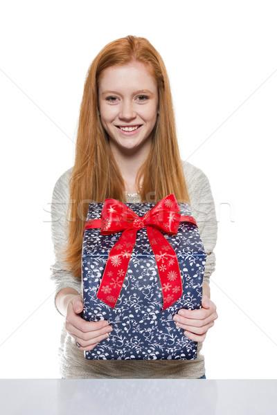 Genç kırmızı kız hediye Stok fotoğraf © Cursedsenses