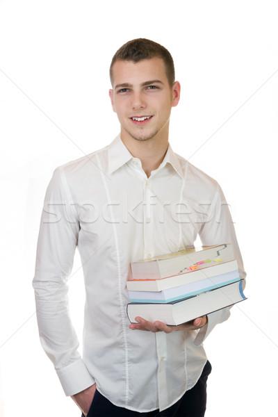 Genç işadamı kitaplar iş adamı gülümseme Stok fotoğraf © Cursedsenses