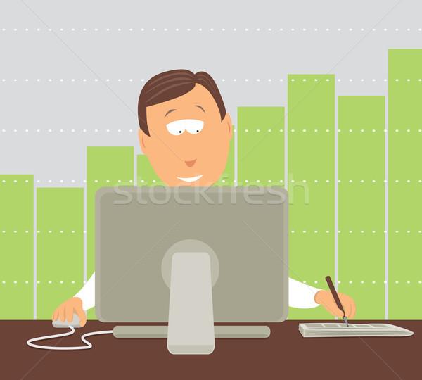 üzletember dolgozik befektetés online üzlet számítógép Stock fotó © curvabezier